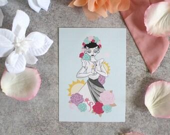 Carte postale-B&W girl-Calavera