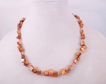 Orange Shell Necklace & Earrings