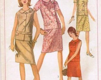 Vintage 60's Simplicity Misses sz 12 Two Piece Dress Pattern 6917