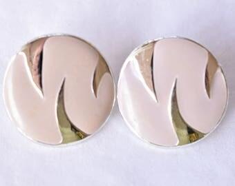 "Vintage Round 80s Statement Stud Earrings Tiger Stripe Off White Silver Tone Boho Mod Retro Costume Jewelry 3/4""."