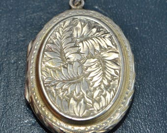 Victorian Silver B&F Fern LEAVES / Day and Night DOUBLE SIDED Reversible Locket
