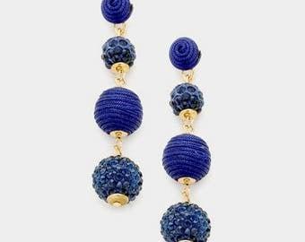 Bon Bon Earrings, Les Bonbons Earrings, Crispin Drop Earrings, Triple Ball Earrings, Thread Wrapped Ball Earrings, Blue Fireball Earrings