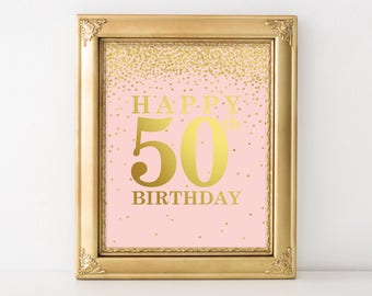 Happy 50th Birthday Sign, Pink and Gold Party Decorations, 50th birthday decor, 50th birthday sign, Birthday Printable Banner, Welcome Sign