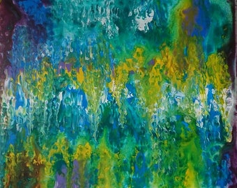 "Fluid acrylic, abstraite art, Painting ""Touching the soul"""