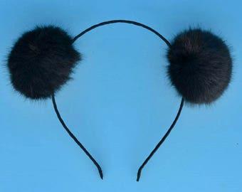 Black Puff Pom Pom Headband