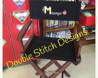 SUMMER SALE Teacher chair, teacher appreciation gift, gift from class, director chair, personalized, elementary school teacher, embroidered