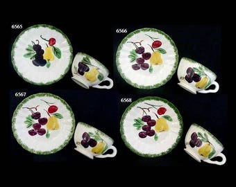 FOUR Blue Ridge Cup and Saucer Sets FRUIT FANTASY (8 Pieces) Hand Painted Dinnerware Superior Quality (B30) 6565 6566 6567 6568