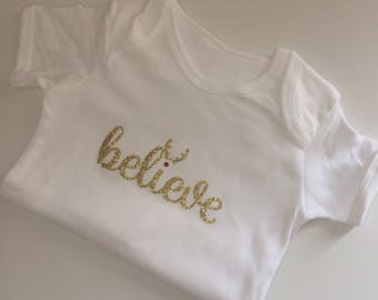 Believe Christmas onesie vest sleepsuit first baby