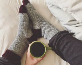 Gray and Maroon Lounge Socks