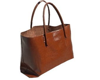 XXL Leather Shopper Shopping bag for bulk purchase and more brown used look leather handmade