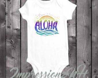 Aloha baby one-piece bodysuit shirt - Aloha baby onesie -Hawaiin baby onesie hawaii shirt for baby