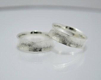 """Partner rings """"Fingerprint"""" 925 Silver"""