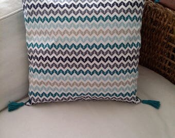 40 x 40 with PomPoms Chevron pillow cover