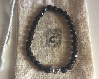 Beaded Bracelet with Silver Buddha Charm