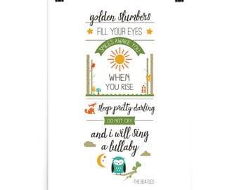 """Beatles Golden Slumbers Lyric Print Orange/Sage/Teal/Yellow 18"""" x 24"""" Poster"""