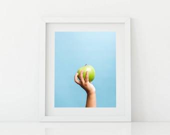 Apple on Blue Pop Art - Bright and Fun Kids Artwork