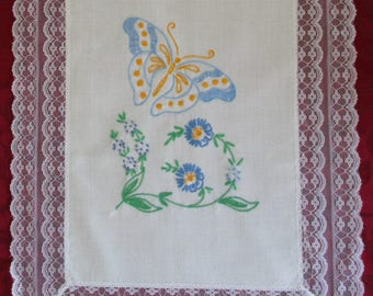 Vintage Table Runner Embroidered Butterflies  Off White Linen And Lace Edging, Retro Linen Embroidered Butterfly Table Runner
