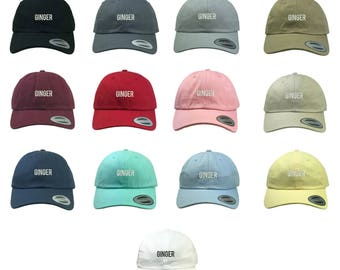 """GINGER Dad Hat Yupoong Classic Baseball Cap, Embroidered """"Ginger"""" Hat, Low Profile Couples Hat/Matching Couples Hats, Many Colors Available"""