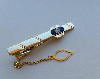 Gold Tone Tie Clip with Rhinestone