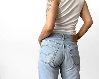 Vintage, Made in Canada, Levis, Light-Wash, 501, Button-Fly, Boyfriend-Style, Denim, Jeans