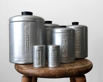 6 Piece, Vintage, 1950's, 1960's, Aluminum, Kitchen, Canisters, Cannisters, Salt n' Pepper Shakers, Set