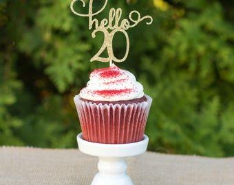 hello 20 cupcake topper, happy 20th cupcake topper, happy birthday, gold glitter topper, twenty birthday topper, birthday cupcake topper