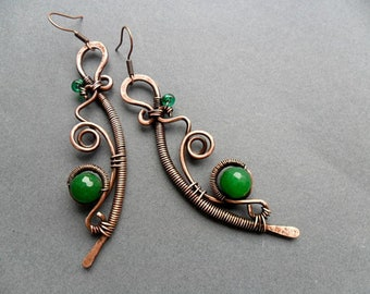 Copper Wire wrapped earrings with green jade, Antique copper earrings, Wire wrapped jewelry, Copper wire earrings, Handmade earrings womens
