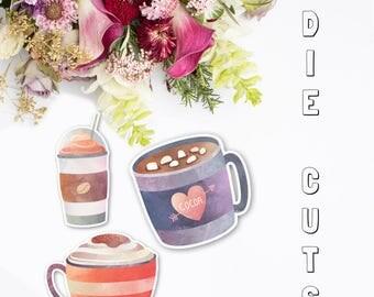 Coffee Drinks Die Cuts |  Die Cuts | Coffee Die Cuts | Planner Die Cuts | Traveler's Notebook Die Cuts | Planner Accessories | TN die cuts