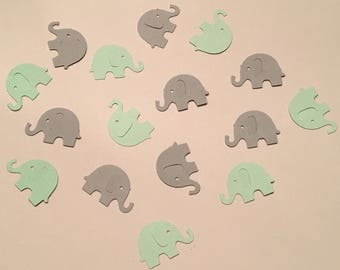 200 Green and Gray Elephant Confetti Mint Green Confetti Gray Confetti Pastel Elephant Confetti Baby Confetti Baby Shower Confetti Die Cut