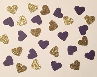 200 Purple and Gold Confetti Heart Confetti Glitter Confetti Shower Confetti Baby Confetti Wedding Confetti Birthday Confetti Bachelorette