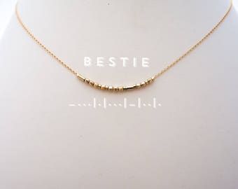 Best Friend Gift / Bestie Gold Morse Code Chain Choker Necklace / Friendship Gift BFF / Gold Filled Chain necklace Choker / Custom / Grandma