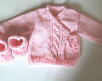Hand knitted booties and jacket