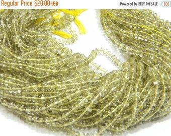 14 inch strand-- 5 mm approx-- Good Quality Lemon Quartz Plain Roundell (Button) Beads