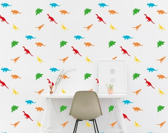 Dinosaur wall Decal Dinosaurs Kids room Wall Sticker Kids Bedroom Pattern Wallpaper Vinyl Wall Decals Nursery Wall Stickers Home Decor