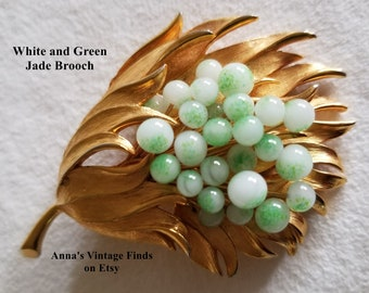 Jade Brooch White and Green Jade Balls on Gold Tone Metal Flower