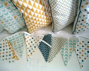 Garland pennants graphic, green, mustard and blue duck, triangles, dots, boats, boy or girl room decoration