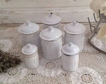 Set of 6 Antique French White Enamel Canisters
