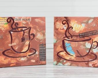 Coffee Canvas Print, Tea Kitchen Print, Kitchen Wall Art, Ready to Hang Canvas Print, Kitchen Giclee, Gallery Wrapped Canvas, Kitchen Gift