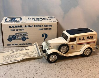 ertl us mail diecast vintage car delivery truck bank limited edition collector series nib new box