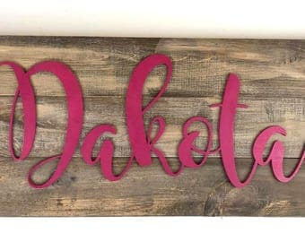 Name sign Wood, Nursery Name sign, Girls name sign, Girls Room Decor, Custom Girl Sign, Baby Name sign, Family Name sign