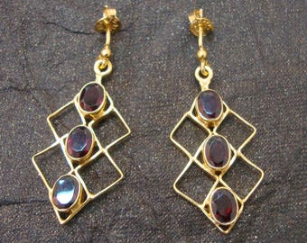 Royal Garnet 925 Sterling Silver Gold Plated Handmade Stud Earrings For Valentines Day GIFT