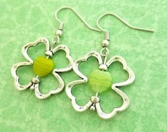 Four Leaf Clover Earrings, clover earrings, Irish Earrings,Irish Jewelry Luck symbol, lucky, Ireland vacation,Ireland