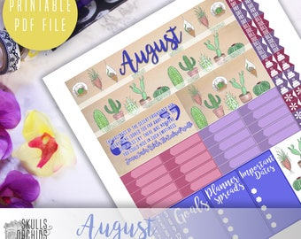 HAPPY PLANNER August Monthly View Kit – Printable Planner Stickers