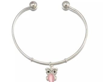 Pink Owl Cuff Bracelet / Silver Bangle