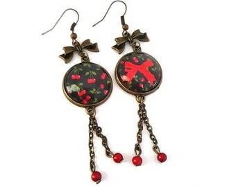 Rockabilly - cherries - dangle - bronze glass cabochon Stud Earrings - retro
