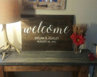 Beautiful personalized wedding welcome sign