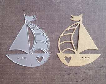 Travel sea boat sailboat heart Sizzix die
