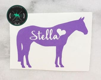 Custom Horse Name Love Vinyl Car Decal - personalizable equestrian sticker