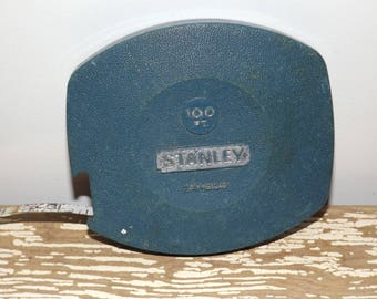 Stanley retractable 100 ft measuring tape,blue case,model 34-500,home improvement,vintage tools,1970s hardware,wind up measuring tape