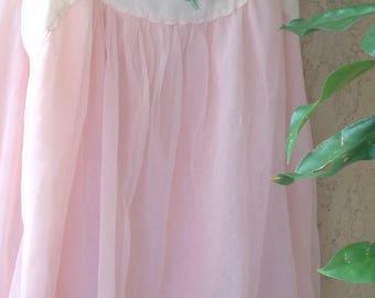 1960's vintage lingerie/lingerie/camisole/pink/true vintage/baby doll/sheer top